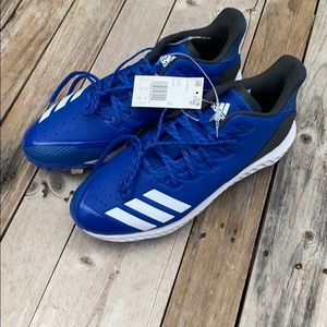 Adidas | Blue White Icon Bounce Metal Cleats 11.5